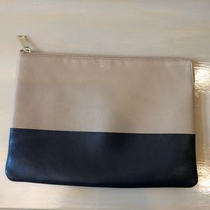 Céline Zip Two Tone Tan and Black Leather Clutch